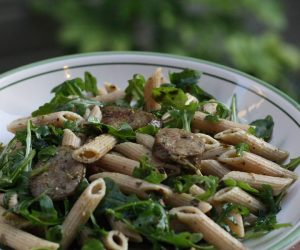 Arugula Pesto Pasta Cooking with Trader Joe's