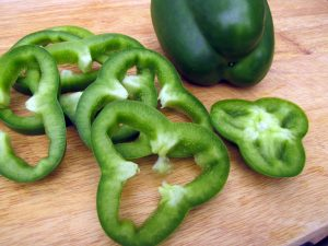 Shamrock green bell pepper slices